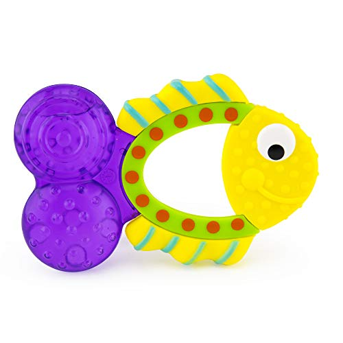 Sassy Teething Tail Fish Teether | Water-Filled Teether Soothes and Massages Teething Gums | for Ages 3 Months and - Teether Sassy
