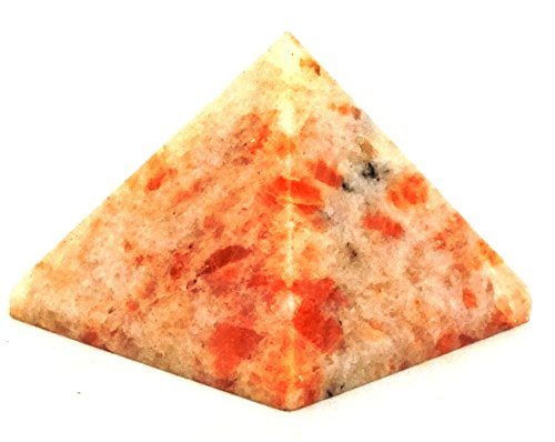 Healing Crystals India 40-50mm Natural Gemstone Pyramid Aura Balancing Reiki Energy Charged Free eBook about Crystals Healing (Sunstone)