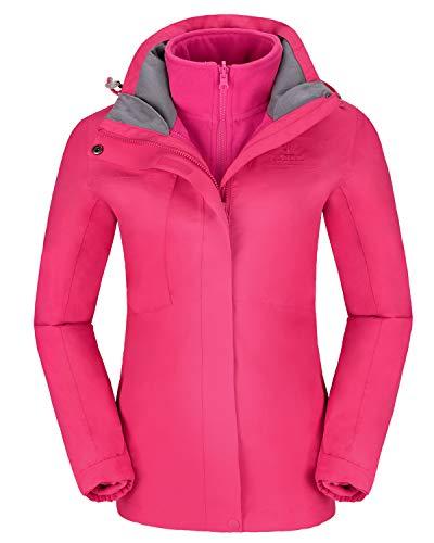 Women's Ski Jacket for Winter 3 in 1 Waterproof Windproof Snow Hooded Jacket with Warm Fleece Liner Jacket (Small, Pink)