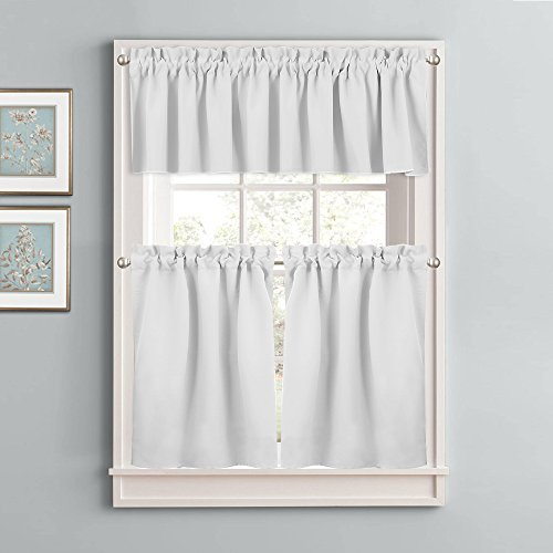 Greyish White Window Curtain Set – NICETOWN New Design 3 Pcs Room Darkening Cafe Store Drape Tier & Valance Set for Basement(Single Piece 58 by 18 inches Valance, Double Panels 29 by 36 inches Tier) - New Window Valance