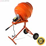 COLIBROX--Electric Portable Vertical 5 Cubic Foot Concrete Mortar Cement Stucco Mixer. 5 Cubic Feet Capacity Mortar Mixer Helps You Mix Cement Concrete And Stucco By Yourself Adjustable Drum.