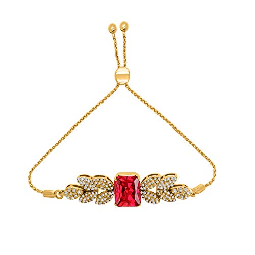 OMEGA JEWELLERY Emerald Shape Ruby & 0.59CT Diamond 10K Solid Gold Cluster Bolo Bracelet (Yellow-Gold)