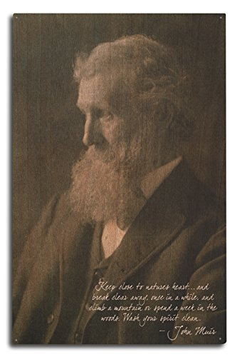 Lantern Press Muir Woods National Monument, California - John Muir Portrait (10x15 Wood Wall Sign, Wall Decor Ready to Hang)