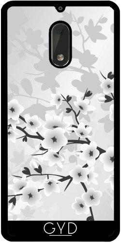 Funda de silicona para Nokia 6 - Elegantes Flores De Plata Gris by Nina Baydur