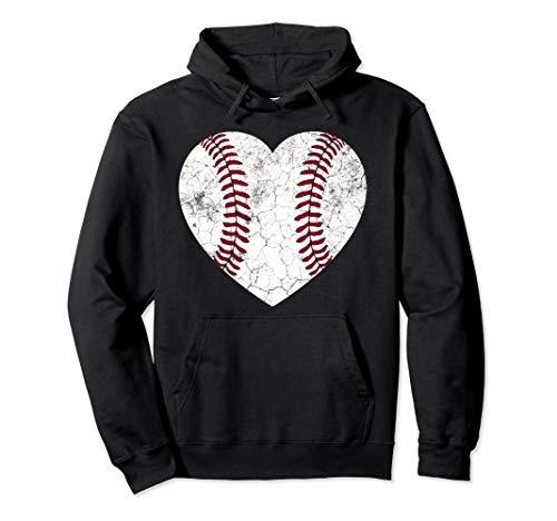 Baseball Heart Hoodie Fun Mom Dad Men Women Softball Gift