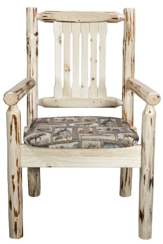 Captains Guest Chair (Montana Woodworks Montana Collection Captain's Chair with Wildlife Pattern Upholstered Seat, Clear Lacquer Finish)