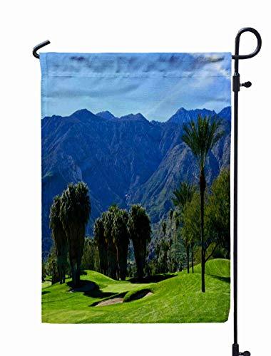 HerysTa Spring Garden Flag, Decorative Yard Farmhouse Holiday Banner 12 x 18 inches Idyllic Golf Course in Desert Double-Sided Seasonal Garden Flags
