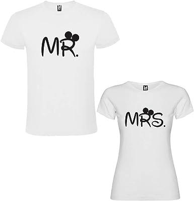Pack de 2 Camisetas Blancas para Parejas, Mr. y Mrs, Negro: Amazon ...