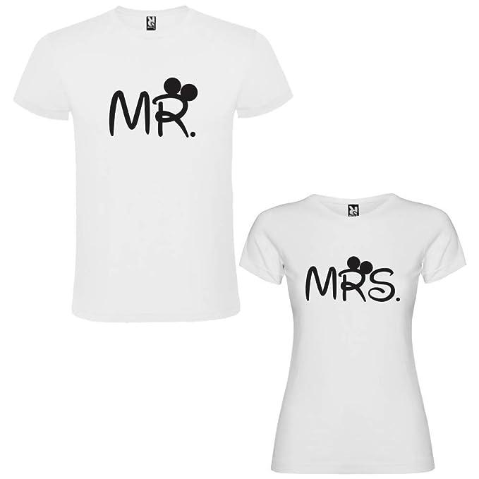 DALIM Pack de 2 Camisetas Blancas para Parejas, Mr. y Mrs. Negro (