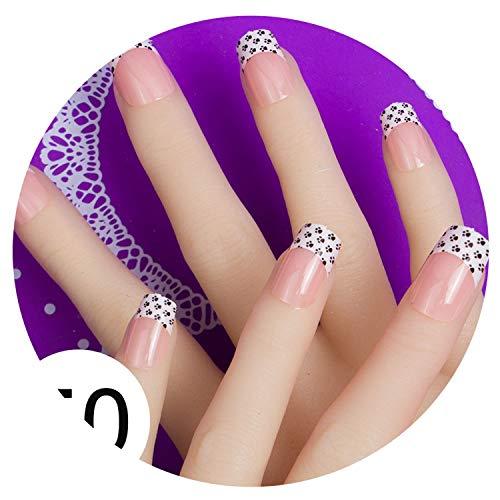 (24Pcs Full Cover Fake False Nail Art Adhesive Glue Tab 10 Sizes Press On Nail Tips Faux Ongles,50)
