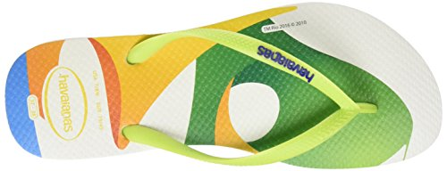 Havaianas Slim Rio 2016 - Chancletas Mujer Multicolor (WHITE/GREEN 1049)