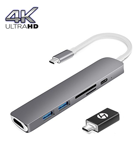 """MacBook Pro Dock, HOGORE Thunderbolt 3 Adapter for MacBook Pro 2016 2017 13"""" 15"""" with 40Gbps TB3, 100W Pass-through Charging, 4K HDMI, USB-C, SD/MicroSD Reader, 2+1 USB 3.0 Ports"""