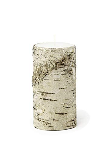 "Serene Spaces Living Medium Birch Bark Pillar Candle - Unique All-Natural Bark Wrapped Candle, 5.75"" Tall & 3"" Diameter"