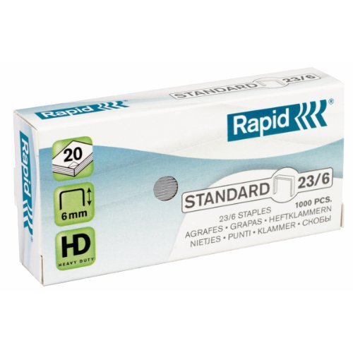 Rapid 24869100 Boîte de 1000 Agrafes 23/6 mm Galva