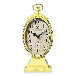 Creative Co-Op Metal Tabletop Clock in Yellow