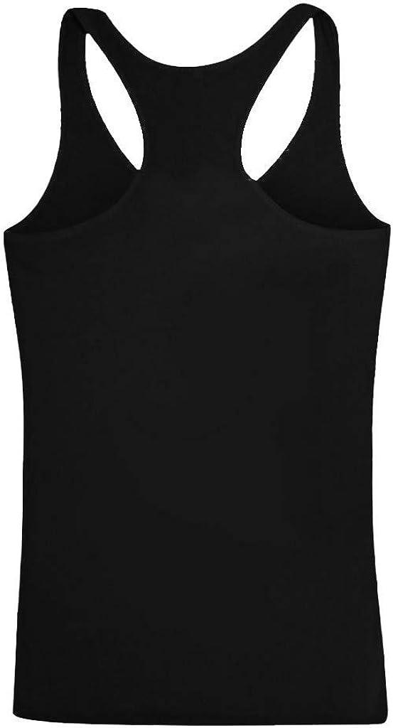 Rishine Women Plus Size Summer Letter Print Round Neck Sleeveless Casual T-Shirt Top Tank