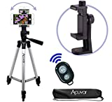 Acuvar 50' Smartphone/Camera Tripod with Rotating Mount & Wireless Camera Remote. Fits All Smartphones iPhone Xs, Max, Xr, X 8, 8+, 7, 7 Plus, Android Note 10, S10+ etc.