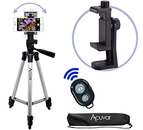 Acuvar 50 Smartphone/Camera Tripod with Rotating Mount & Wireless Camera Remote. Fits All Smartphones iPhone 11 Pro Max, 11 Pro, 11, Xs, Max, Xr, X 8, 8+, 7, 7 Plus, Android Note 10, S10+ etc.