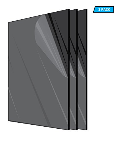 AdirOffice Acrylic Plexiglass Sheet - Durable, Water Resistant & Weatherproof - Multipurpose & Ideal For Countless Uses 12''x24'' 1/8 thick – 3 Pack, Black