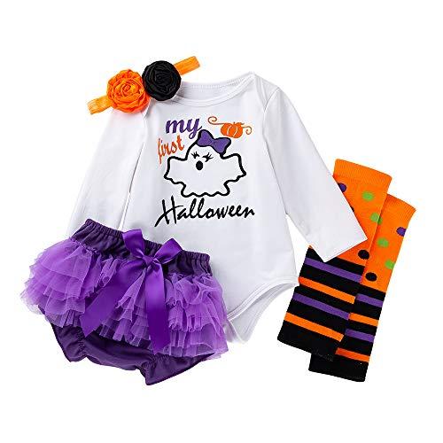 My First Halloween ClothesNewborn Baby Girl Long Sleeve Romper+Bowtie Shorts+Headband and Leg Warmer 4Pcs Outfit Set Purple