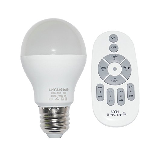 Fjiangyi 6W E27 Smart LED Light Bulb Dimmable with 2.4GHz Wireless 4-Zone Remote Control – Adjustable Color Temperature (Warm/Cool) and Brightness 1 Pack (1 Bulb+1 Remote) Review