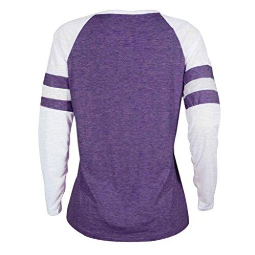 B Tops Patchwork MRULIC Damen Geschenk Zum T Bluse Langarm Plus lila Shirt Thanksgiving Muttertag Size OvqZwg