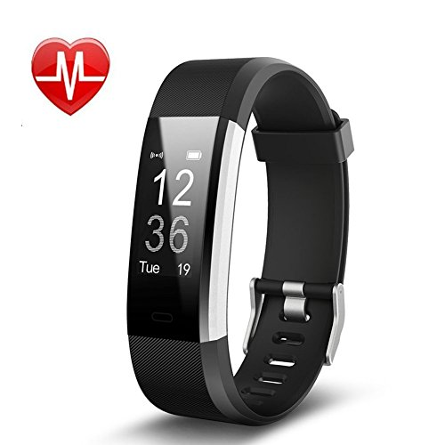 REDGO Fitness Tracker HR, Heart Rate Monitor Activity Tracker Watch with GPS Tracker, Step Counter, Sleep Monitor, IP67 Waterproof Bluetooth Pedometer Smart Wristband Bracelet for Android iOS, Black