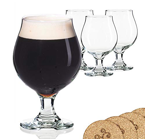Libbey Beer Glass Belgian Style Stemmed Tulip - 13 oz Lambic Beer Glasses - set of 4 w/coasters