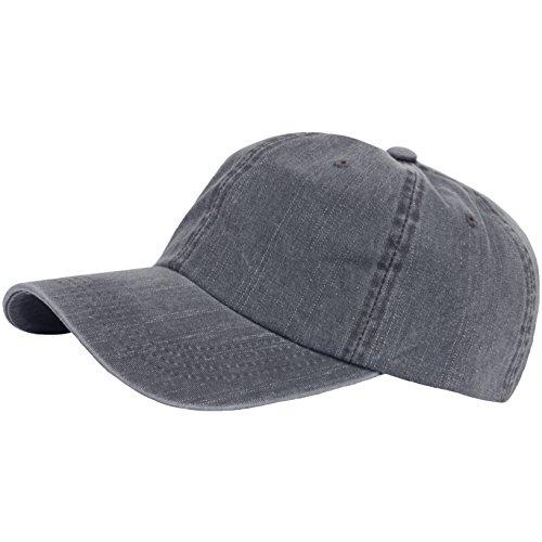 RaOn G63 Vintage Denim Washing Plus Size XL XXL Big Army Cap Baseball Hat Truckers (Gray)