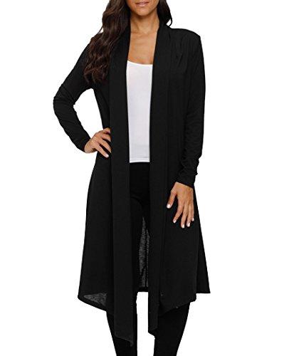 LEANI Women's Long Open Front Drape Lightweight Maxi Long Sleeve Cardigan Sweater Longline Duster Coat