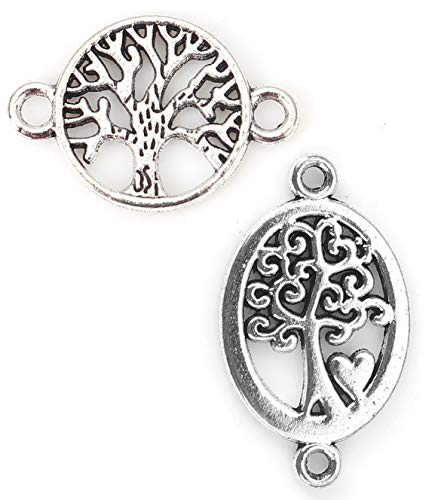 Tree of Life Charm Connectors, 96 Pack (48 of Each), Silver Tone 7/8 Inch ()