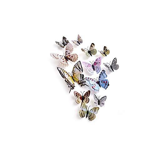 (Wall Stickers12Pcs/Set Multicolor Double Layer 3D Butterfly Wall Sticker Magnet PVC Butterflies Party Kids Bedroom Fridge Decoration,08)