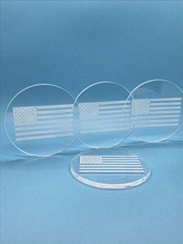 Coaster Acrylic Drink (Spero Goods State Drink Coasters - Handcrafted Made in USA (clear Acrylic 4 per set - state set options; American Flag, California, Colorado, Massachusetts, or Texas) (American, 4))