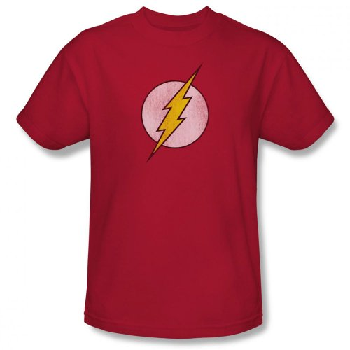 Distressed Logo Mens T-shirt - DC Comics Men's The Flash Distressed Logo T-Shirt, Red, 2X-Large