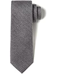 "Silk Men's 2.5"" Skinny Tie Herringbone Splattered Solid Color Necktie"