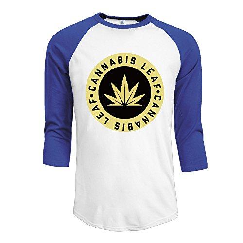 Casual Golden Cannabis Leaf Crew-Neck 3/4-Sleeve RoyalBlue Medium