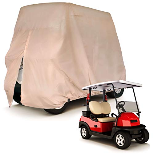 Party Bay Golf Cart Cover Latte Tan Quality Jumbo Heavy Duty fits Easy EZ GO Yamaha Club Car Tomberlin Weather Proof UV Protection Dust