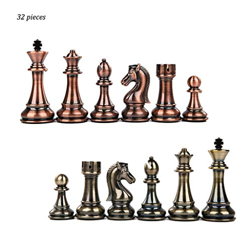 - 32 Pieces Beige and Brown Zinc Alloy Checkers Chess Pieces Kids Intellectually Development Learn Toys Chess Checkers (Color : Brass+Bronze)