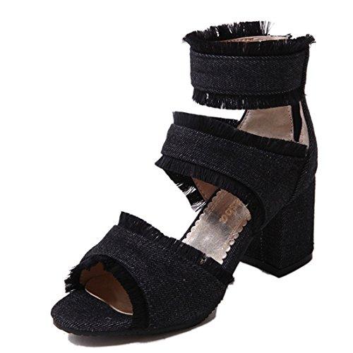 a gli jean stivali stivali signore ed 36 americane bocca vento violento freddo europee tacchi sandali black pesce sandali conforto alla di fighi spillo e fR4wP