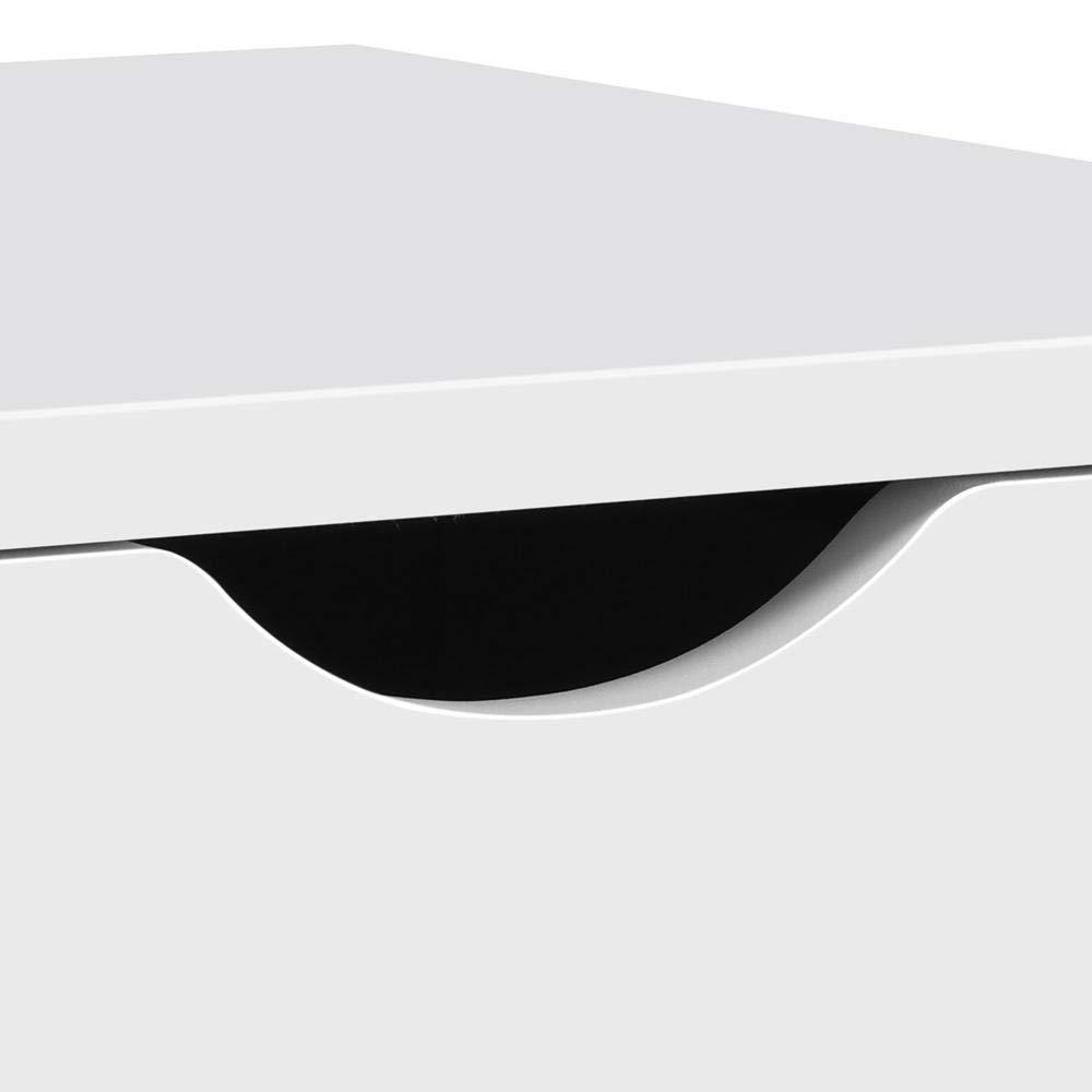 Yaheetech Comodino Bianco Moderno da Camera da Letto con 2 Cassetti in Legno e MDF Tavolino Laterale da Divano Salotto 40 x 40 x 61 cm