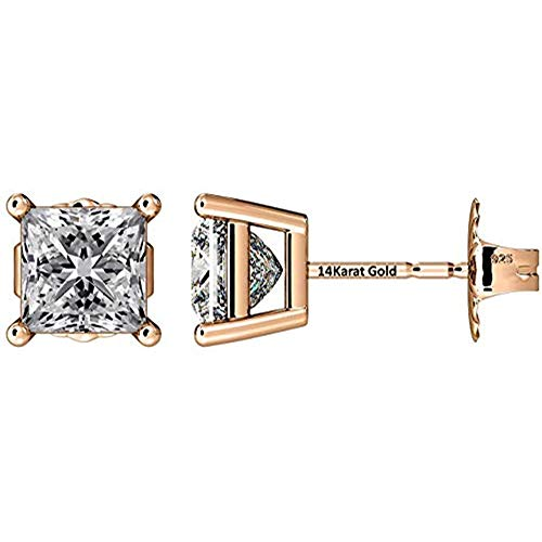 NANA Silver Princess CZ Stud Earrings with 14k Solid Gold Post-7.0mm-4.00cttw-Rose Gold - Design Diamond Gold Earrings