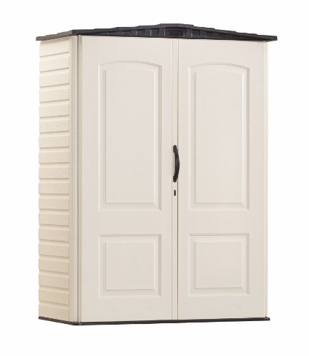 Rubbermaid Plastic Small Outdoor Storage Shed, 53-Cubic Feet, FG5L1000SDONX (Plastic Furniture Looks Like Garden Wood That)