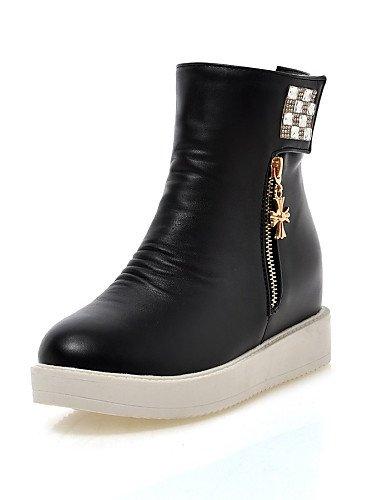 Negro 5 Cerrada Tacón Zapatos Vestido us6 Blanco Bajo Uk6 Uk4 Punta Y Oficina 5 Eu39 White Semicuero Trabajo Casual Cn37 Xzz Black Redonda Botas us8 Cn39 5 7 De Mujer Eu37 CZwt070q