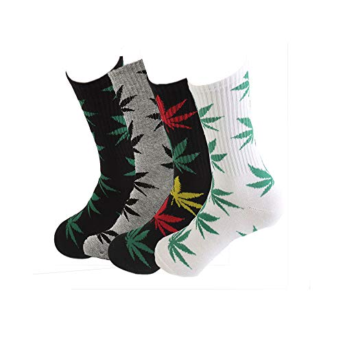 - TTD 4 Packs Unisex Weed Leaf Printed Cotton Socks Maple Leaf Printed Socks Athletic Sports Marijuana High Crew Socks