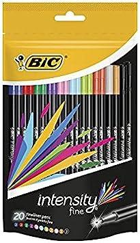 BIC Intensity Fineliner bolígrafos de colores [Pack de 20]: Amazon ...