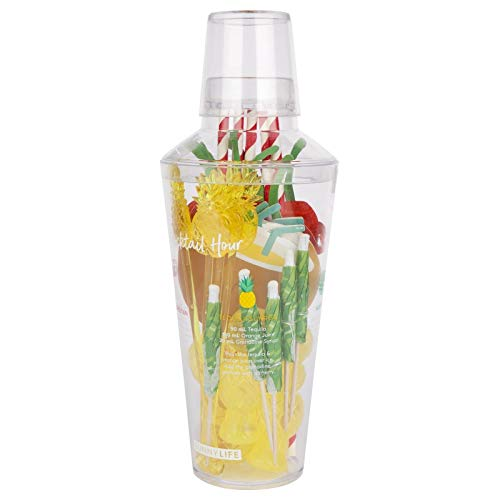 Sunnylife Tropical Cocktail Kit with Shaker, Stirrers, Straws, Coasters, Umbrellas and Drink Guide