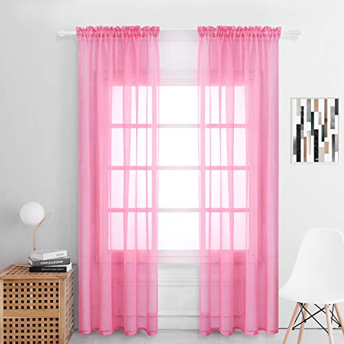 Selectex Solid Color Linen Look Semi-Sheer Curtains - Rod Pocket Voile Curtains for Living and Bedroom, Set of 2 Curtain Panels(54 x 84 Inch, Pink)