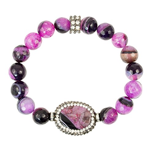 Pink and Black Banded Agate Beads with Agate Slice Bead and Gunmetal Accents - Stretch Bracelet