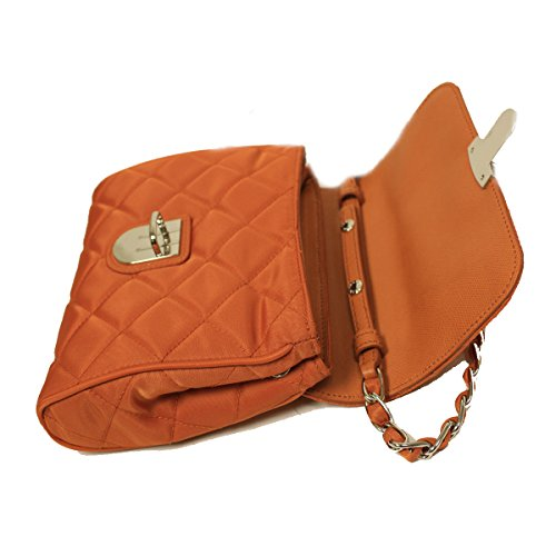 8bc946c277ed Prada BP0623 Papaya Orange Tessuto Impuntu Pattina Nylon and Leather Chain Crossbody  Bag