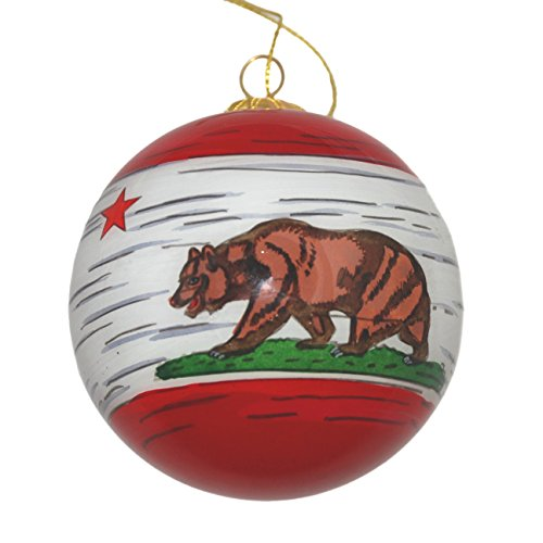 Hand Painted Glass Christmas Ornament - Distressed California State Flag ()